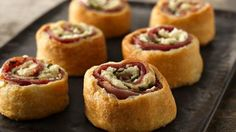 Mediterranean Crescent Pinwheels - yummy combination of flaky pastry, feta, prosciutto and fresh basil.