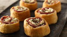 Mediterranean Crescent Pinwheels - yummy combination of flaky pastry, feta, prosciutto and fresh basil.