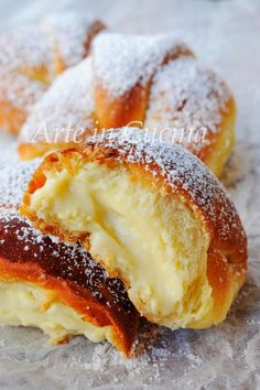 Easy-to-use recipe for the confectionary cream Italian Desserts, Italian Recipes, Bagels, Scones, Donuts, Breakfast Recipes, Dessert Recipes, Sweet Buns, Western Food