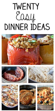 Twenty Easy Dinner Ideas - delicious recipes for the whole family! ~ they actually do look easy and delicious Slow Cooker Recipes, Cooking Recipes, Healthy Recipes, Delicious Recipes, Quick Recipes, Easy Dinner Recipes, Dinner Ideas, Supper Ideas, Quick Meals