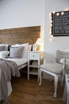 bedroom decorating white and grey. Can get the little fairy lights at DeSerres art store in neutral palate.