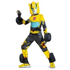 Bumblebee Transformer Yellow Boys Kids Entire Costume Superhero SZ M 7-8 Solid
