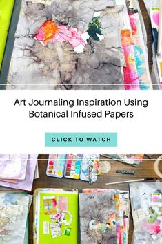 Mixed media art journal tutorial by Roben-Marie Smith. Journal page video process made with botanical infused eco papers perfect for journals! Art Journal Pages, Art Journaling, Art Journal Inspiration, Journal Ideas, Art Journal Tutorial, Art Journal Techniques, Drawing Projects, Process Art, Book Making