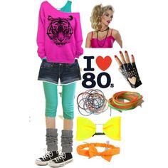 accessories and clothes for a retro party in neon colors halloween costumes pink offtheshoulder top with black tiger print denim shorts and a teal tank top legwarmers. Costume Année 80, 80s Party Costumes, 80s Halloween Costumes, Costume Ideas, 80s Costumes For Kids, Diy Halloween, Retro Costume, Retro Party, Neon Party