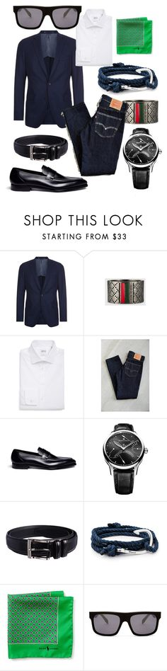 """City Walker Busy Day"" by bvn01 ❤ liked on Polyvore featuring BOSS Hugo Boss, Gucci, Armani Collezioni, Levi's, George Cleverley, Maurice Lacroix, Florsheim, MIANSAI, Ralph Lauren and Alexander McQueen"