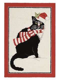 2x3' Hooked Cat Christmas Rug