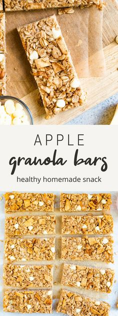These apple granola bars are the perfect fall snack with dried apple chunks, white chocolate chips and cinnamon. They're both chewy and crispy at the same time and are so delicious. #snack #granolabars #glutenfree #healthy #apple #eatingbirdfood #breakfast Fall Recipes, Snack Recipes, Healthy Homemade Snacks, Apple Bars, Fall Snacks, Dried Apples, Honey And Cinnamon, Cinnamon Apples, White Chocolate Chips