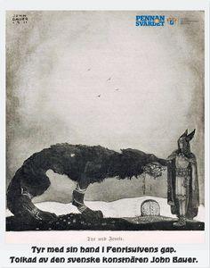 Fenrisulven var uppväxt i Asgård. Allt eftersom han växte blev han mer vild & lömsk till sinnet. Ingen gud vågade gå nära utom guden Tyr. Gudarna bestämde sig för att fjättra honom långt bort. Fenrisulven drog av alla de tjockaste kedjorna. Gudarna gav uppdrag till dvärgarna att tillverka en lämplig boja. De tillverkade en tunn tråd kallad Gleipner, smidd av sex magiska ting: katts buller/kvinnas skägg/fiskens andedräkt/björnens nerver/fågelns spott/ bergets rötter.