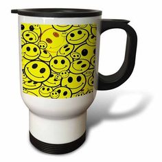 3dRose Smiley Faces, Travel Mug, 14oz, Stainless Steel