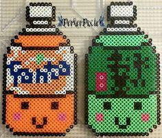 Kawaii Fanta and Green Tea perler beads by PerlerPixie