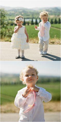 Sweet wedding outfits, flower girl, ring bearer, pink tie, flower headband // Tanja Lippert Photography