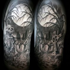 Graveyard Tattoos For Men On Arm Time Is Money Tattoo Designs For Men Zombie Tattoos, Evil Tattoos, Spooky Tattoos, Celtic Tattoos, Skull Tattoos, Sleeve Tattoos, Bicep Tattoos, Tattoo Sleeves, Tatoos