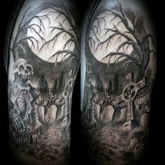 Graveyard Tattoos For Men On Arm