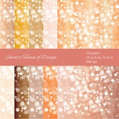 Champagne Bokeh Digital Paper Backgrounds  by SmatsHouseofDesign, $5.00