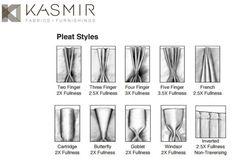Drapery panel pleat styles from Kasmir fabrics.