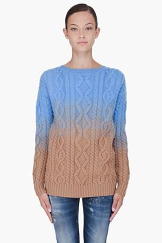 Blue Dipped Knit Sweater