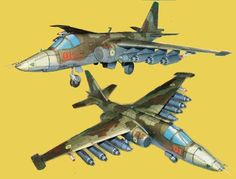 Sukhoi Su-25 (NATO reporting name: Frogfoot), a single-seat, twin-engine jet aircraft developed in the Soviet Union by the Sukhoi Design Bureau, the paper model is created by YUMK, and the scale is in 1:42.