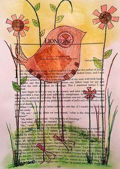 Original Bird Art Book Page Bird Flowers 5 Cents