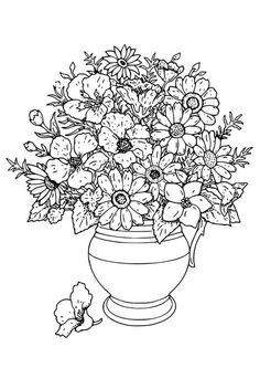 Coloring page Vase with wild flowers - img 18649.