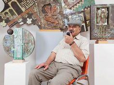 Mahmoud Taha in his art studio