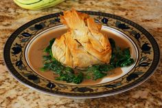 Filo Pouch with Veggies and Mushroom Thyme Sauce