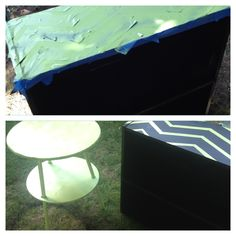 my attempt at DIY for old bookcase! Painters' tape and paint. :)
