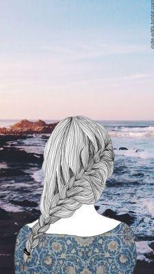 LOCKSCREENS wallpapers tumblr girl outlines landscape - wallpaper   lockscreen   papel de parede   plano de fundo   background  