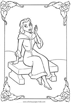 Belle, Beauty and the Beast color page, disney coloring pages, color plate, coloring sheet,printable coloring picture