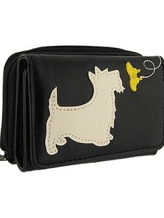 A cute dog is playing with a yellow butterfly on the front cover of this lovely wallet.It makes great gift for those who loves dog.Made with toxic free vegan leather, this wallet has:- 1 photo ID pocket,- 5 card slots,- 1 zipper around coin purse at the back- 8 x 11 x 3cm / 3.25 x 4.25 x 1.25in