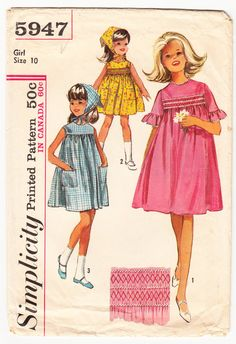 Vintage 1965 Simplicity 5947 Sewing Pattern Girls One Piece Dress and Scarf Size 10