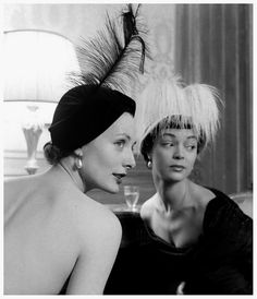 November 1948    With Lucille Lewis wearing feathered hats by Sally Victor, photo by Nina Leen.