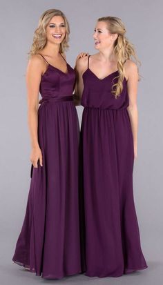 Eggplant purple is a great choice for your wedding in any season! Featured is Kennedy Blue bridesmaid gown styles Abigail and Lana | Kennedy Blue