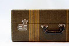 Vintage Tweed Striped Suitcase / Luggage / Old Suitcase on Etsy, $64.00