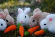 Needle Felted Bunny With 1 Carrot Easter by BondurantMountainArt, $9.50