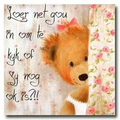 Good Morning Good Night, Good Morning Wishes, Goeie More, Afrikaans Quotes, French Quotes, Plant Hanger, I Am Awesome, Teddy Bear, Cards