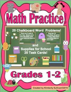 Math PracticeGrades 1-240 task cards20 word problems  Animal and Insect Theme 20 task cards ( some word problems ) School Supplies Theme addition and subtraction reviewFun and engaging for centers, early finishers, home school, special education, and  small groups.Common CoreAnswers and recording sheets included!I wish your students much success this year in math!Stop by often for freebies, sales, new products and giveaways!
