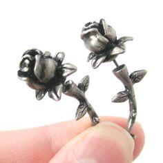 Realistic Rose Shaped Flower Themed Fake Gauge Plug Earrings in Silver | Unique Ear Gauges