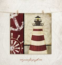 Nautical Lighthouse III 12x12 Art Print by JenniferPughStudios, $10.00