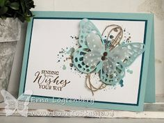 handmade card from Erna Logtenberg (Love To Stamp) ... aqua, kraft and white ... layered die cut butterflies ... twine loops and grunge ... Stampin' Up!