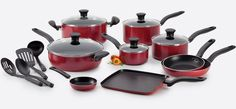 Amazon.com: T-fal A777SI64 Initiatives Nonstick Inside and Out Dishwasher Safe 18-Piece Cookware Set, Red: Kitchen & Dining
