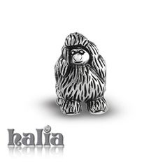 Pampered Poodle: Oxidized poodle bead: designed exclusively by Halia, this bead fits other popular bead-style charm bracelets as well. Sterling silver, hypo-allergenic and nickel free.    $35.00