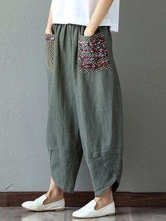 Gorgeous Gracila Casual Print Patchwork Elastic Loose Irregular Pants For Women - NewChic Mobile.