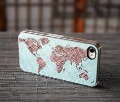 World Map Colored Sketch Custom iPhone Case Fits 4 And 4s Black Or White