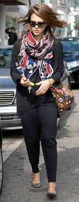 Jessica Alba wearing Theodora & Callum Navajo print scarf