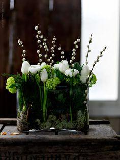 Centerpiece: simple, pretty, green, white.