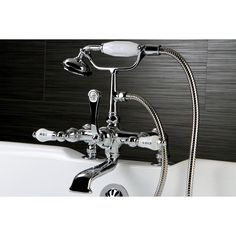 Kingston Deck-mount Chorme Clawfoot Tub Faucet with Hand Shower
