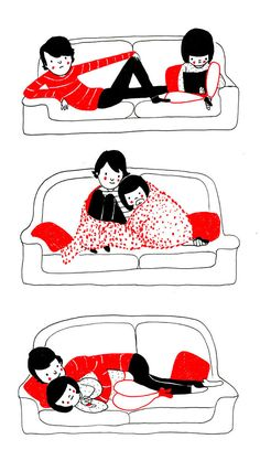 """Philippa Rice- """"Soppy"""" Red + Black Cartoons   These Adorable Illustrations Remind Us That Love Is In The Little Things"""