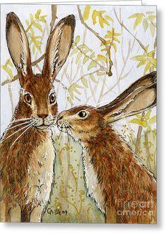 Lovely Rabbits - Little Kiss Greeting Card by Svetlana Ledneva-Schukina