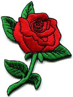 Rose tattoo love 70s retro applique iron-on patch S-194
