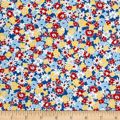 Kaufman Birds of Liberty Flowers Evening from @fabricdotcom  Designed by Darlene Zimmerman for Robert Kaufman, this cotton print 30's reproduction fabric features beautiful florals, abstract prints, and birds. Perfect for quilting, apparel, and home decor accents. Colors include shades of blue, white, red, and yellow.